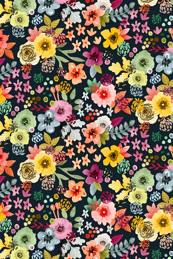 Spring Floral at Night by Angel Gerardo - Hand painted spring flowers in yellow teal, pink, red, and orange on a dark background on fabric, wallpaper, and gift wrap.  Beautiful hand painted floral design in a whimsical style.