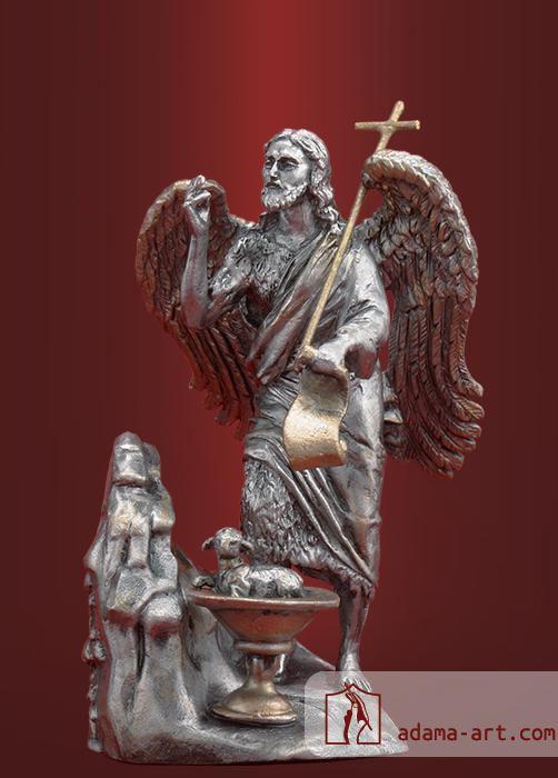 Иоанн Креститель Ангел  Пустыни (088t) Оловянная миниатюра, Черненое олово Высота статуэтки 80мм  Скульптор: Сергей Алексашкин