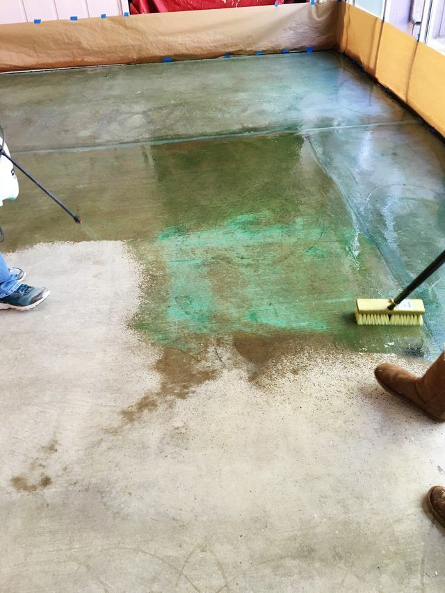 How to acid stain a concrete floor concrete floor step for Best way to clean painted concrete floors