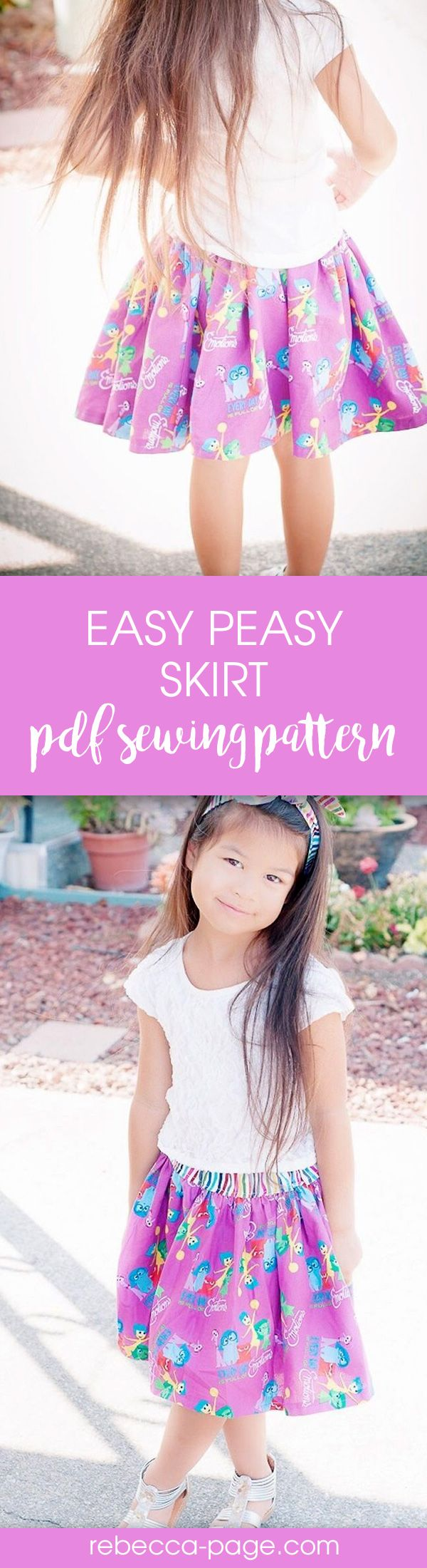 Really easy, really cute. Beginner skirt sewing pattern. Babies & girls up to 12 years.