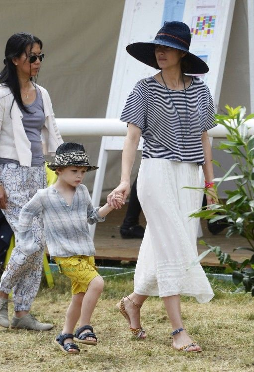 Marion Cotillard & cute son Marcel cheer for her husband Guillaume Canet during Longines Global Champions Tour