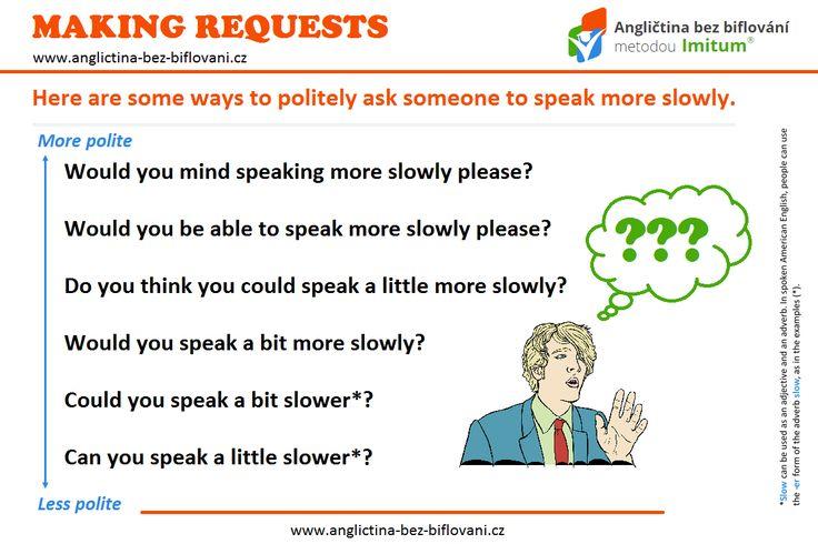 Máte občas problémy s porozuměním mluvené angličtině? Jak požádat někoho, kdo mluví příliš rychle, aby zpomalil?! Podívejte se do naší grafiky...👤 👄 💬 #makingrequests #speakslowly
