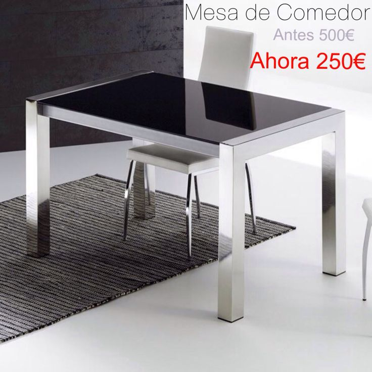 Rebajas mesa de comedor 130x80 cristal negro y cromo alto for Sillas comedor rebajas