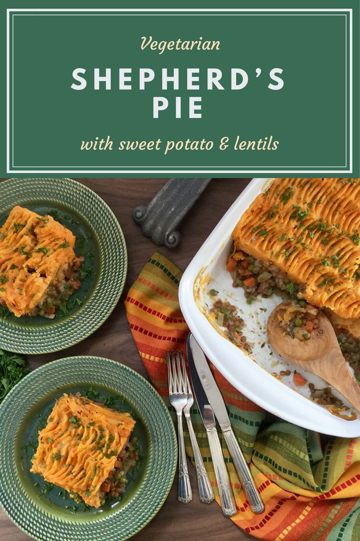 This nutritious deep dish Vegetarian Shepherd's Pie rivals the meat version. Fluffy mashed sweet potatoes top a savoury base made of colourful veggies and protein-rich lentils. It's warm, comforting and filling – just what a Shepherd's Pie should be!