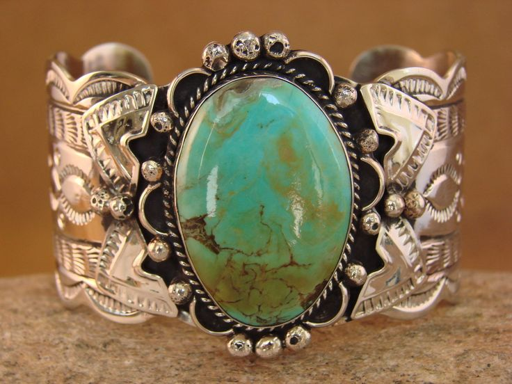 Native American Large Silver Amp Turquoise Bracelet By