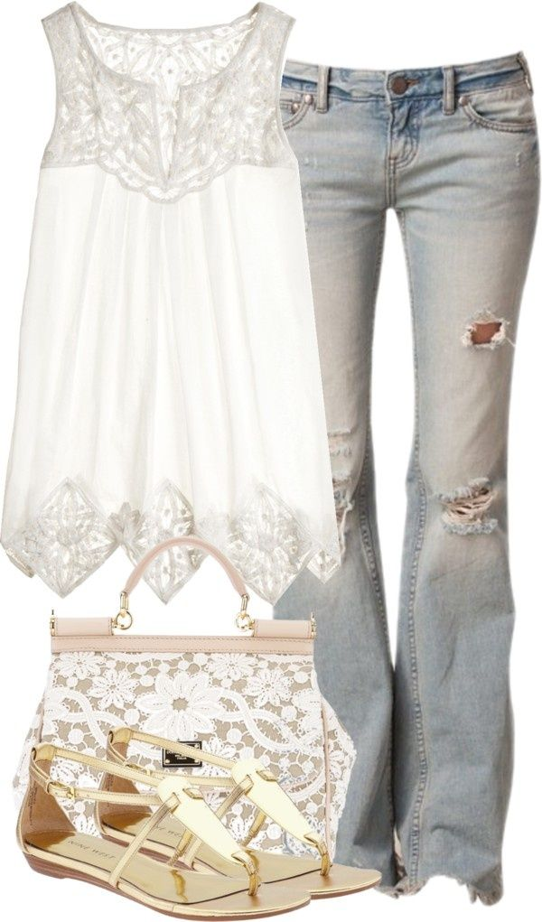 I love the top but would pair with darker, less torn jeans