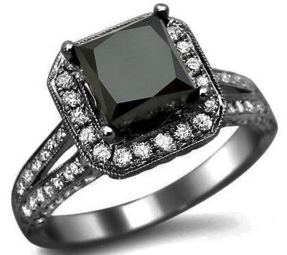 291ct Black Princess Cut Diamond Engagement Ring By Frontjewelers 2 070 00
