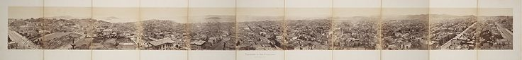 Panorama of San Francisco from California St. Hill. (1877) | Muybridge, Eadweard, 1830-1904 Part of: Panorama of San Francisco from California St. Hill. This panorama of San Francisco comprises 11 photographs, taken over a period of several hours from the central tower of Central Pacific Railroad magnate Mark Hopkins' then unfinished Nob Hill home, located at the corner of California and Mason Streets. The mansion burned to the ground in the 1906 San Francisco Earthquake.
