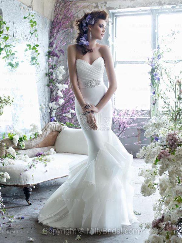 Trumpet/Mermaid Sweetheart Organza Floor-length White Ruffles Wedding Dresses at Millybridal.com