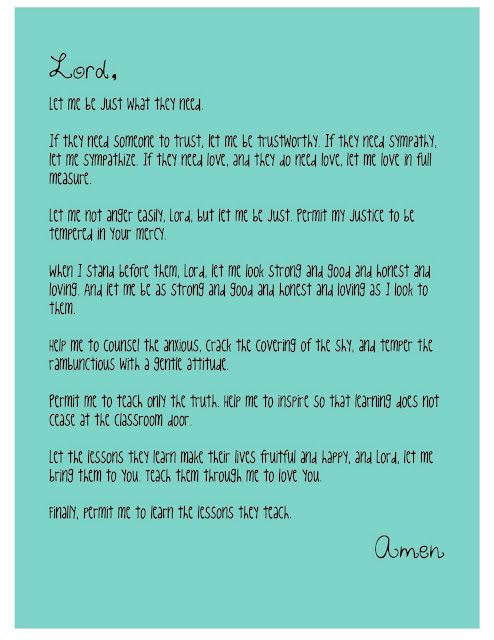 Teacher's Prayer... but works perfectly for a youth minister or a children's minster too!!