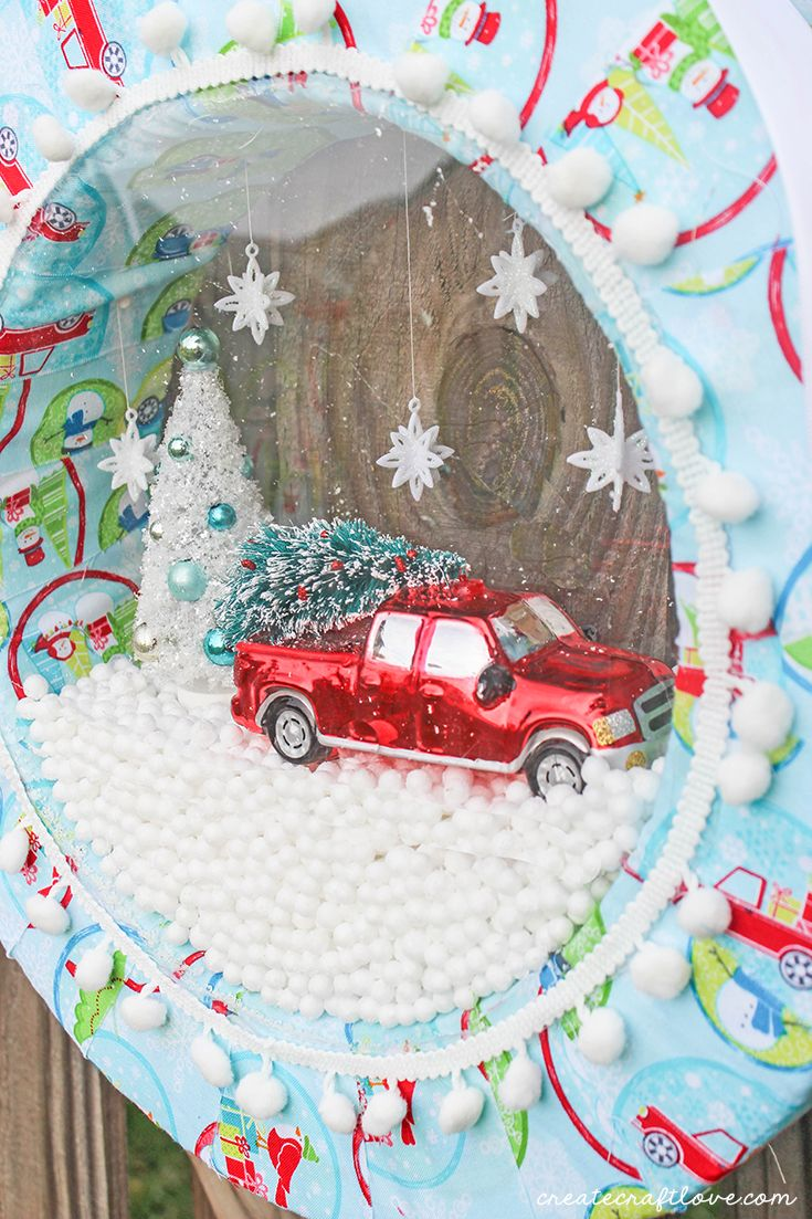 Create your own Snow Globe Wreath that is sure to dazzle your holiday guests! They will think they are walking in a winter wonderland!