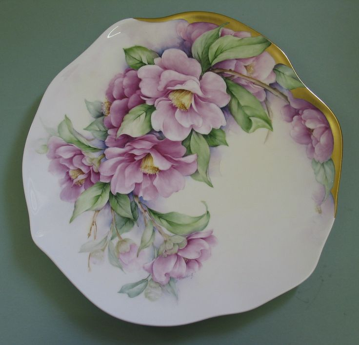 "Camelias with Roman gold trim hand painted on a V & B 10""bone china plate.  Judith Standing"