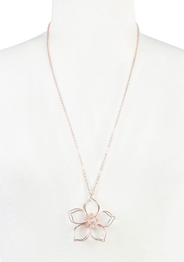 NK-Long Open Wire Daisy Necklace