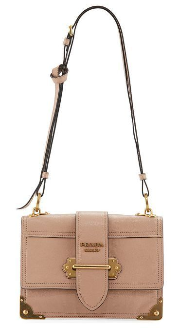 3a959ade5feb22 Trendy Women's Bags : Glace Cahier Small Calf Shoulder Bag by Prada. Prada  small calf leather shoulder… | Fashion USA | Bags, Nude shoulder bags, ...