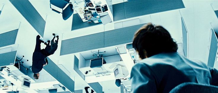 Upside Down, office setting of the other planet, saying goodbye to his colleague and dog, 2012 Canadian-French romantic science fiction film, written and directed by Juan Diego Solanas, starring Jim Sturgess