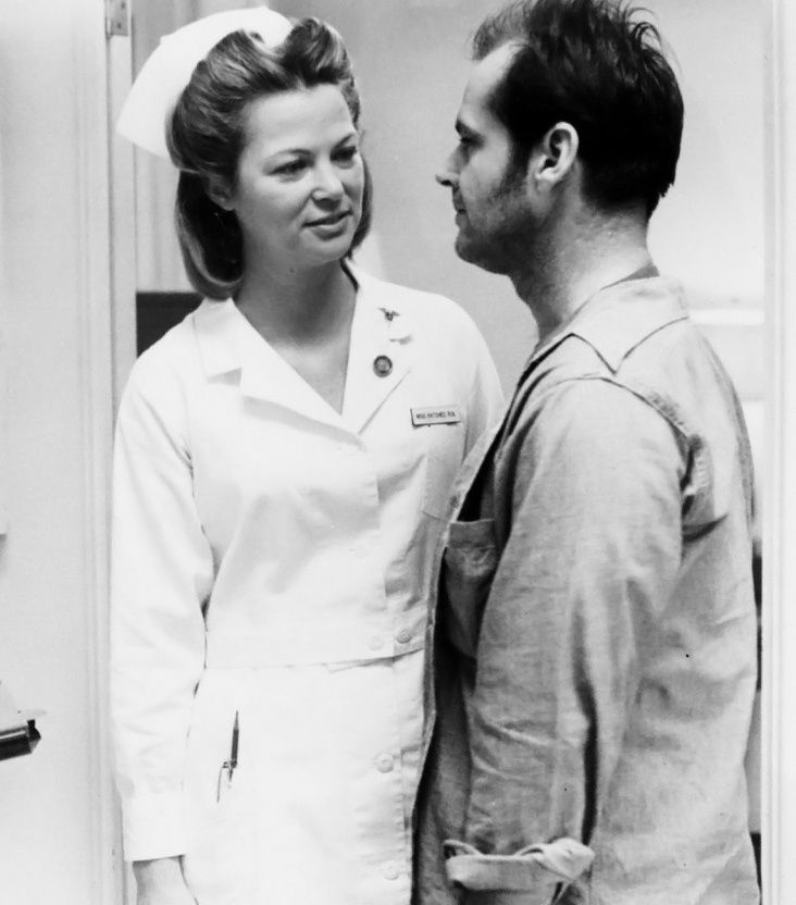 """Jack Nicholson and Nurse Ratched (played by Louise Fletcher) in """"One Flew Over the Cuckoo's Nest""""."""