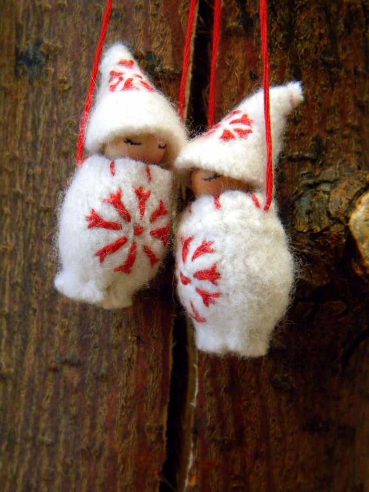 Waldorf Christmas Ornaments, Waldorf Christmas, hand embroidered wool ornaments, Gnome Baby, snow flake, Winter, white, red. $20.00, via Etsy.