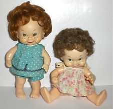 2 1950s GIRL DOLLS SOFT VINYL ROOTED SARAN HAIR IMPISH FACES JOINTED JAPAN EUC