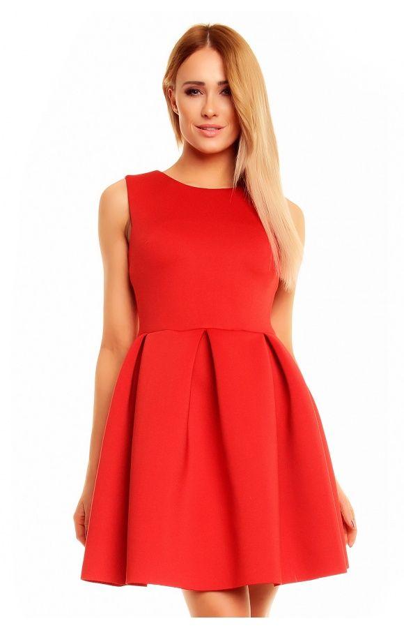 Rozkloszowana sukienka bez rękawów KM140 , Sukienki - Kartes-Moda
