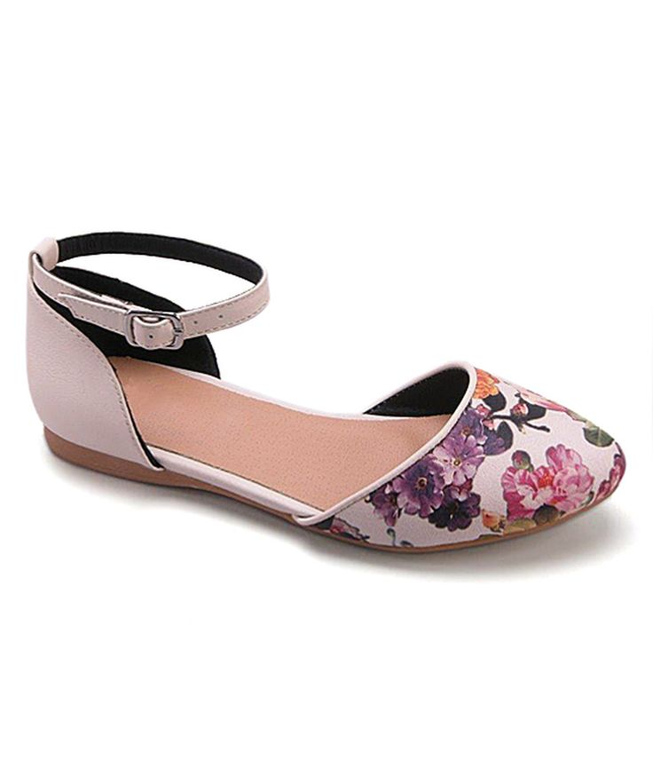 Look at this Betani Beige Floral Closed-Toe Flat on #zulily today!