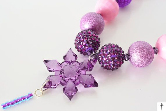 Frozen Inspired Chunky Necklace Snowflake Bubblegum by BYTWINS