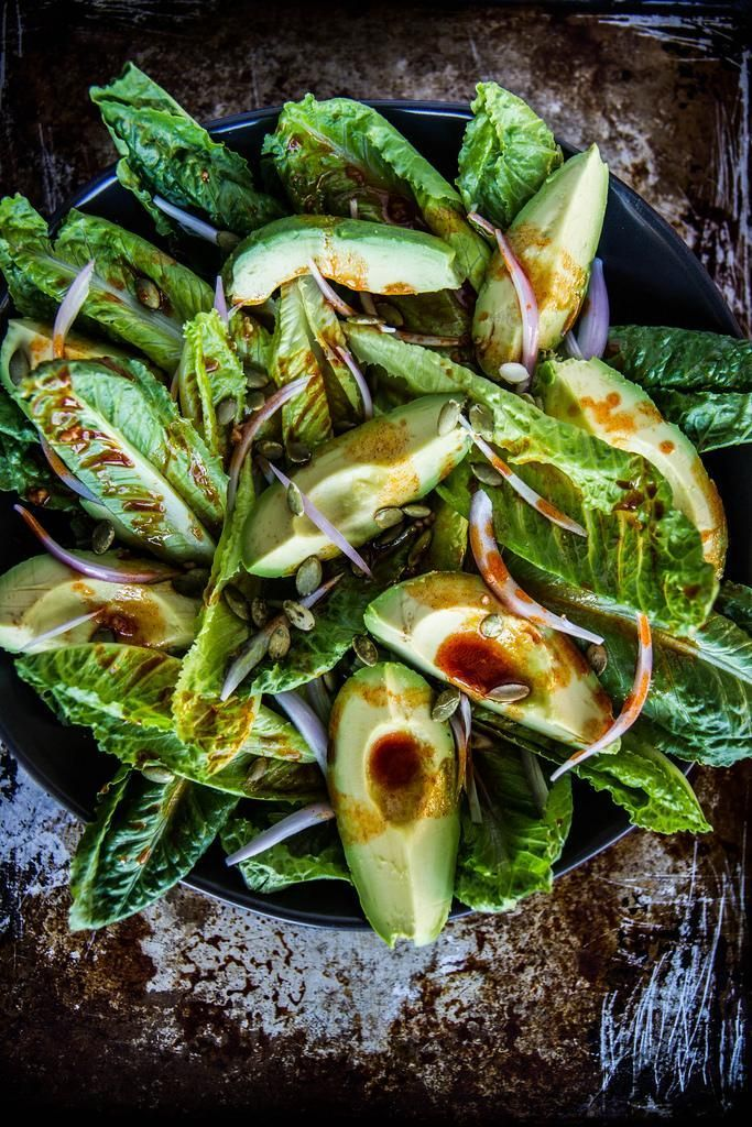 Smoky romaine and avocado salad. Easy vegan option!