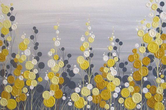 Art Floral texturé gris et jaune Peinture acrylique sur toile Taille : Varie de 16 x 20 à 24 x 36--noubliez pas de sélectionner votre taille et le prix à la Caisse Profondeur : 1.5 Couleur : Jaune, allant un léger beurre jaune à un cadmium plus lumineux / teinte jaune dor et même quelques tons moutarde plus riches. Nuances de gris sont neutres dans ton--pas trop chaude ou fraîche--pour coordonner avec une variété de décor. Bords : Cette toile est Galerie enveloppé et peint gris foncé sur…