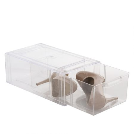 Pricey but these are the best shoe storage!Howards Storage World   Clear Store Large Shoe Drawer