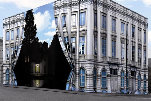 O love Rene Magritte!!   Surreal Entryway, The Magritte Museum, Brussels!