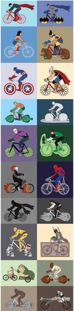 Superhéroes y sus bicicletas.