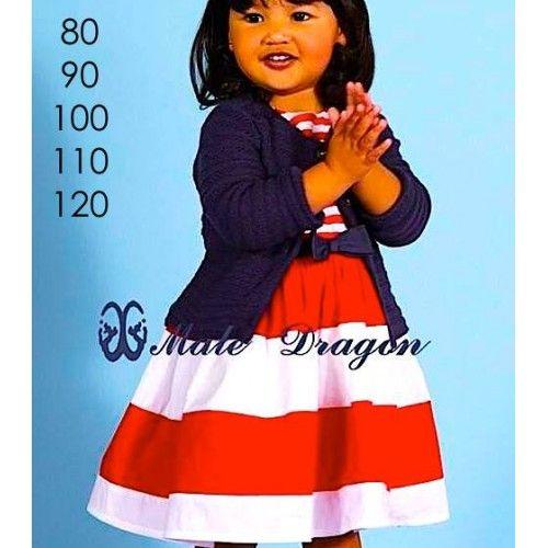 Bolero Dress Stripe Red md412