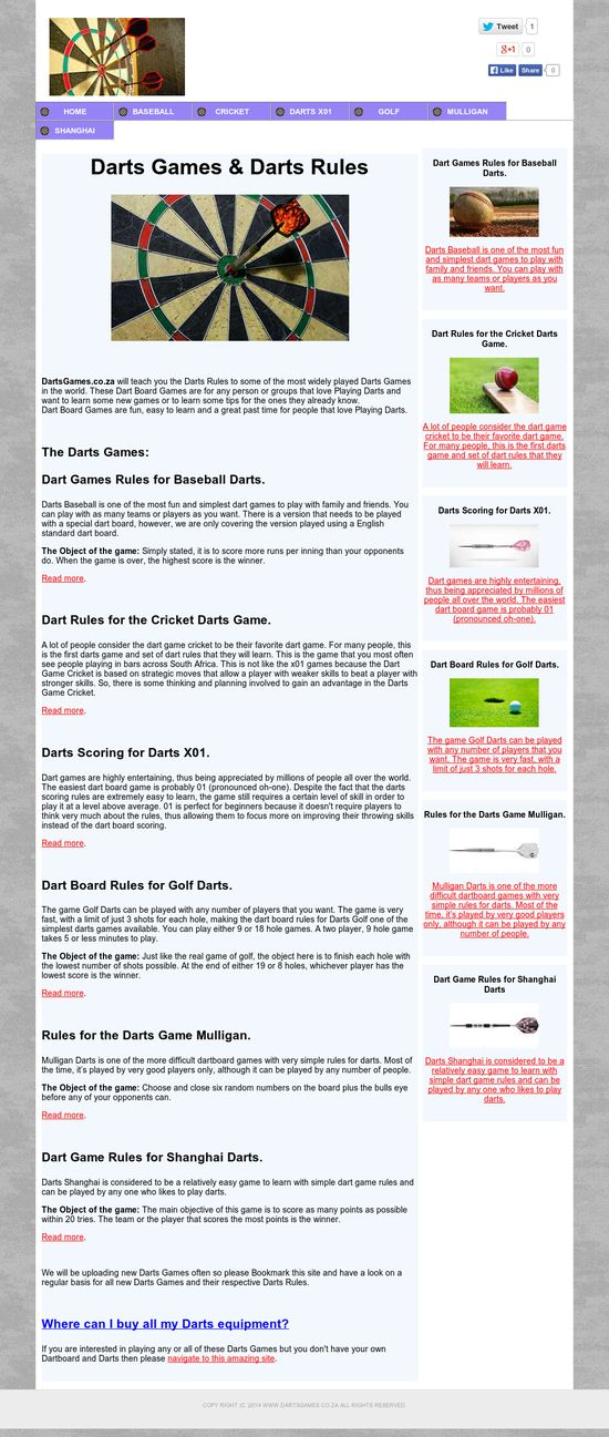 Darts Games & Darts Rules provides will teach you the Darts Rules to some of the most widely played Darts Games in the world.  http://www.dartsgames.co.za/