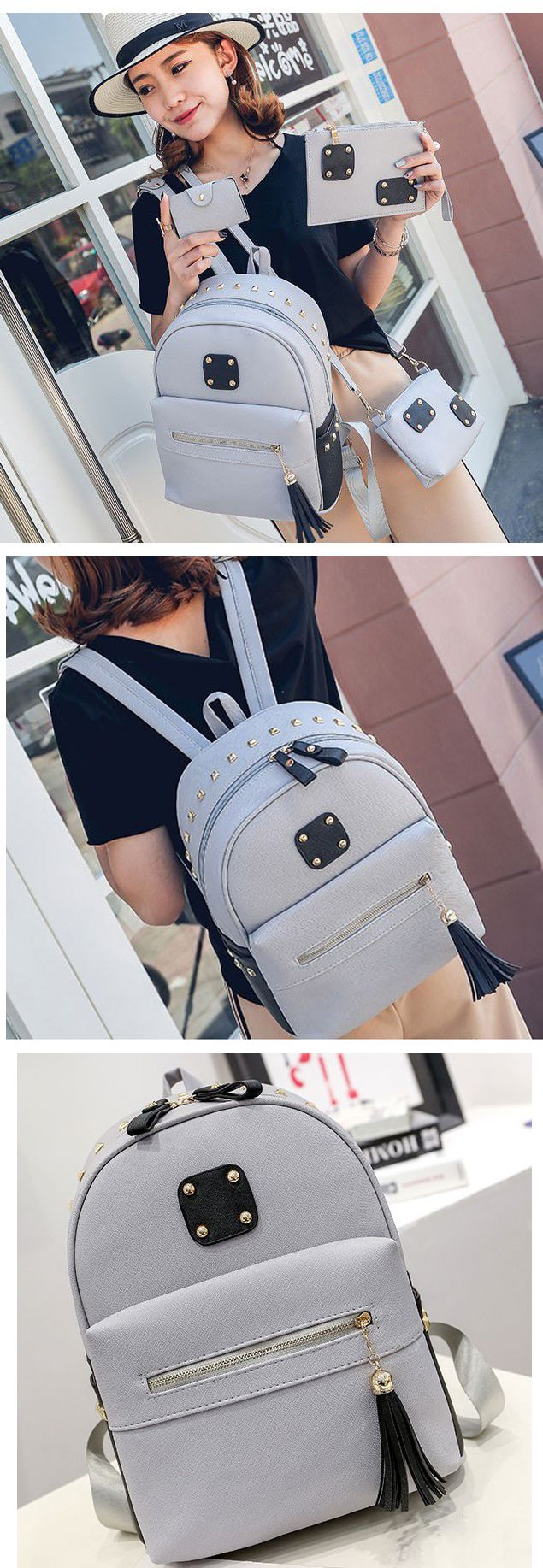 New Arrival Large School Backpack Fashion PU Rivets Patch Tassel Backpack backpacks for girls, pink backpack, mini backpack, cool backpacks, backpacks for women, leather backpack, travel backpack,