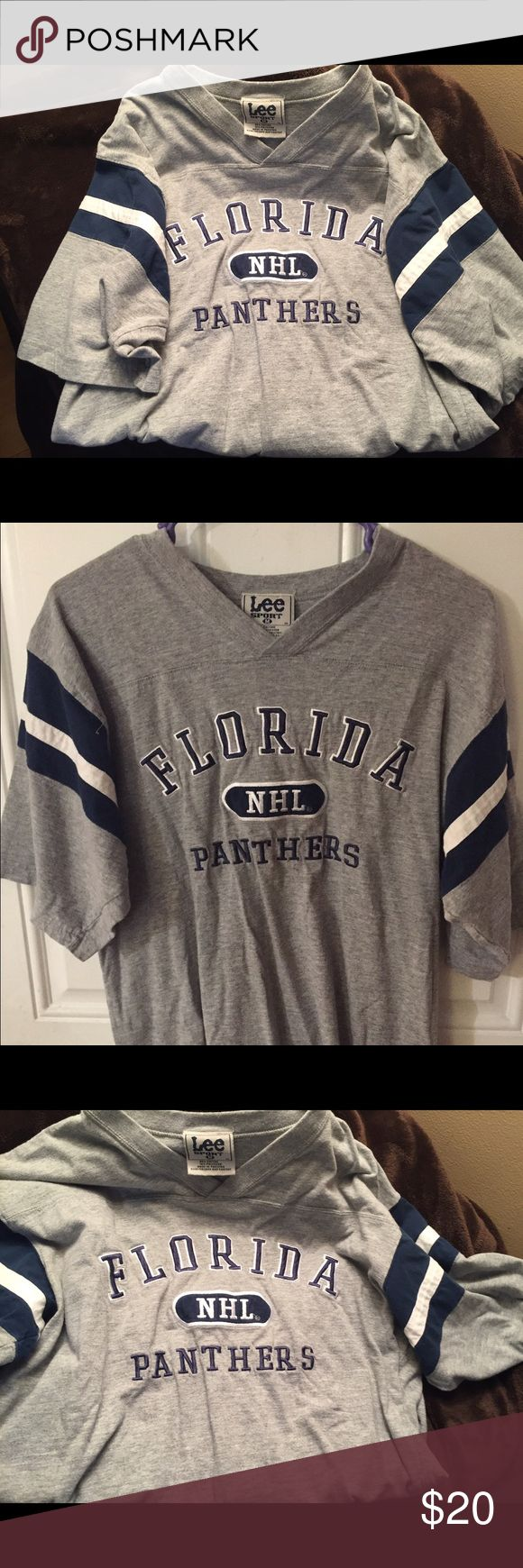 Florida Panthers ladies shirt size medium If you love your Florida Panthers, then this is the shirt for you! A super soft gray jersey Fla Panthers shirt for the ladies! I wore it when I was pregnant with my daughter 16 years ago so it's definitely a classic! It was only worn a handful of times and is in very good condition. Very little pilling. Lee Tops Tees - Short Sleeve