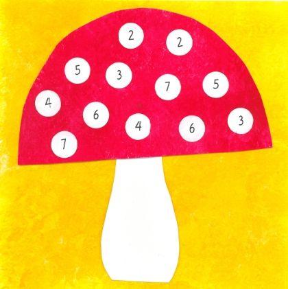 (0.-2.lk) Sienipelissä harjoitellaan päässälaskua pienillä luvuilla (0-10). Pelin voittaa se pelaaja, jonka pelimerkkejä on pelin päättyessä enemmän pelilaudalla.