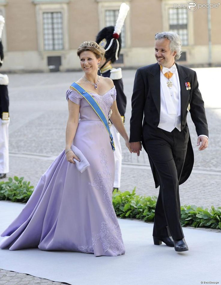 """Princess Märtha Louise of Norway and Ari Behn arriving at the Royal Palace in Stockholm for the wedding ceremony in the Royal Chapel; wedding of Princess Madeleine of Sweden and mr. Christopher """"Chris"""" O'Neill in Stockholm, June 8th 2013"""