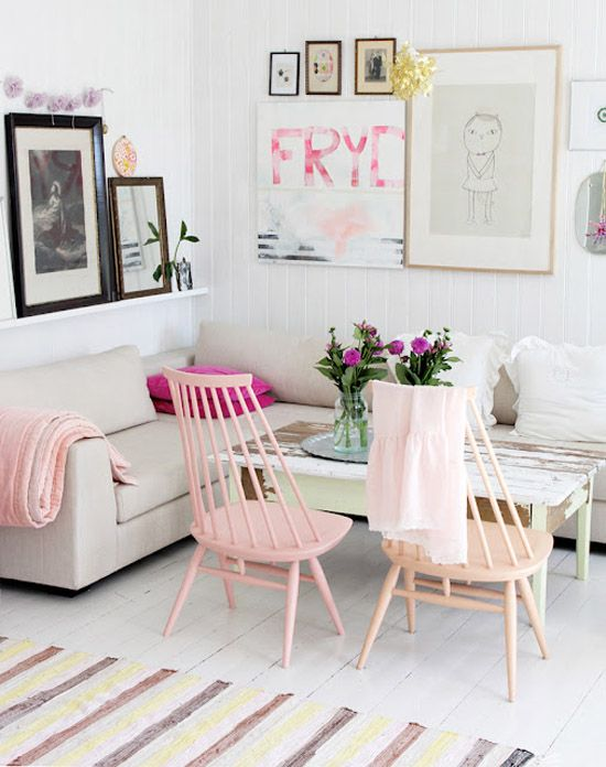 white + color. Pink painted chairs