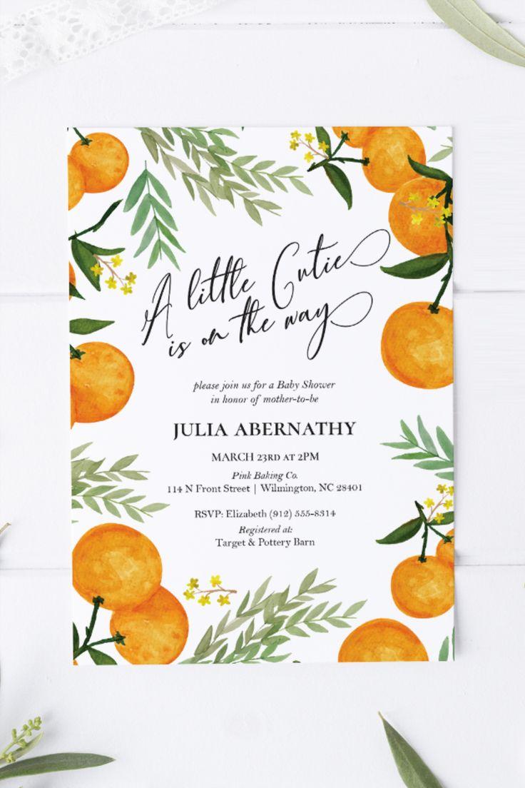 Cutie Orange Baby Shower or Sprinkle Invitation Editable ...