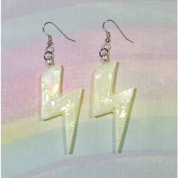 Lightning Bolt Earrings, Fairy Kei Earrings, Pastel Goth Earrings, 80s... ($15) ❤ liked on Polyvore featuring jewelry, earrings, long sparkly earrings, 80s earrings, goth earrings, flat earrings and stainless steel earrings