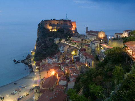 Town View with Castello Ruffo, Scilla, Calabria, Italy Photographic Print