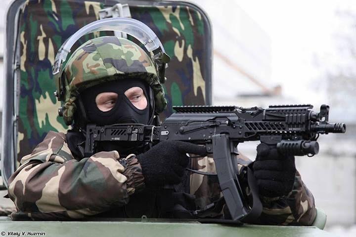 Russian Spetsnaz operative from the OSN Saturn detachment with a PP-19 Bizon sub-machine gun.