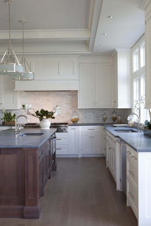 Amazing Open L Shaped Two Tone Kitchen Design With White Shaker Cabinets  With Marble Subway