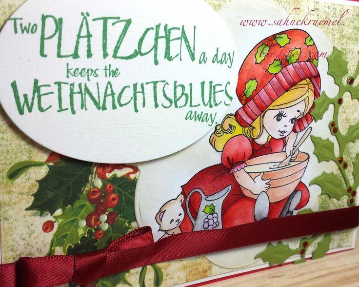 """""""Cookie Christmas"""" von Whimsy Stamps, Spruchstempel von Butterer, Designerpapier und Schleifenband """"Victorian Christmas"""" von Mariannedesign, coloriert mit TwinklingsH2O"""