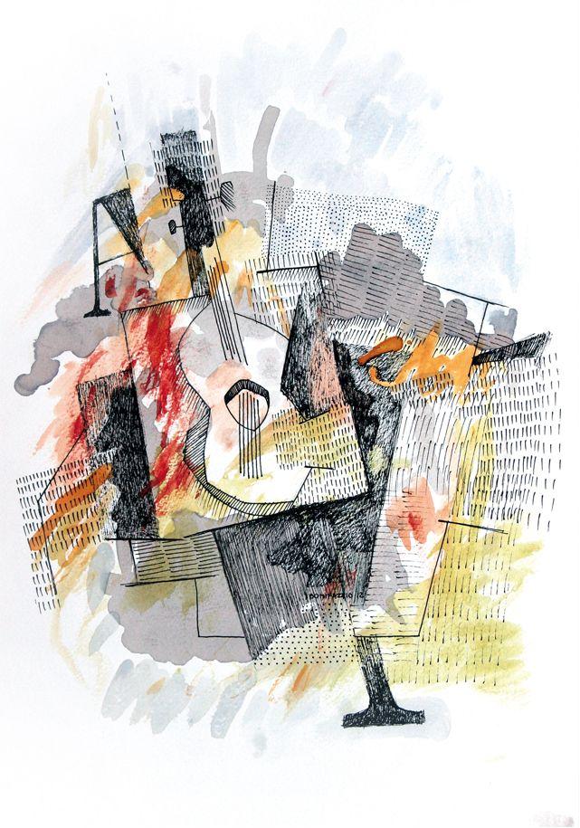 """""""A y guitarra"""". Acuarela, vino y fibra sobre papel. 30 x 20 cm. 2012."""