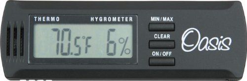 Oasis OH-2 Digital Hygrometer w/clip by Oasis. $28.95. When the relative humidity drops below 40%, musical instruments are at risk of cracking. The Oasis Digital Hygrometer accurately measures relative humidity and can help you decide when to use your Oasis Guitar Humidifier. Because relative humidity varies greatly, even inside your home, we recommend that you keep your hygrometer close to your guitar, or any other stringed musical instrument made of wood. With the conv...