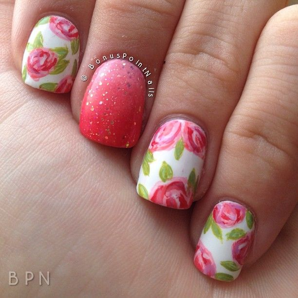 Pink & White vintage roses, free hand floral nail art