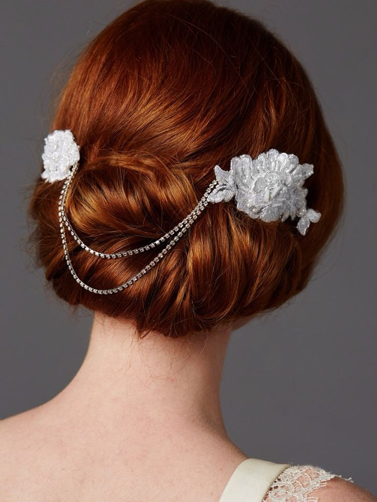 Double English Rose White Lace Combs with Draping Crystal Swags