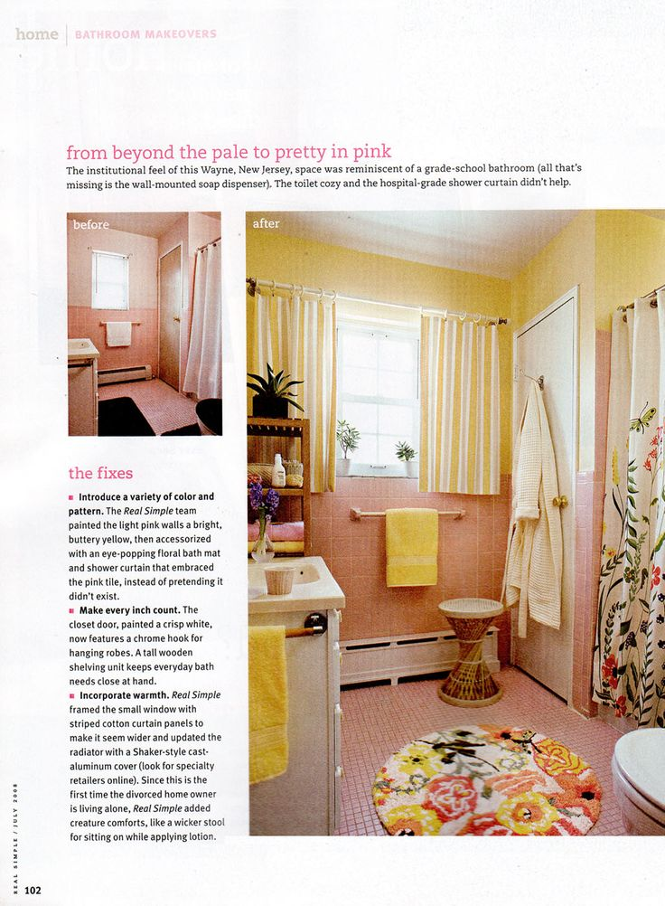 Pink tile bathroom solutions (wish we could have seen this when we were painting the ladies restroom at our church space)