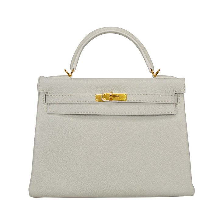 Kelly 32 White Clémence Taurillon Leather Gold Hardware