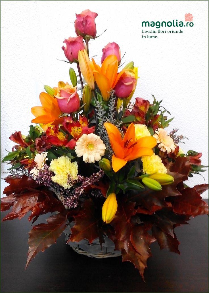 Fall flower arrangement. Aranjament floral cu flori de toamna